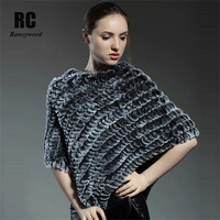 DL6081 Real Rex Rabbit Fur Shawl For Women Natural Fur Poncho Winter Knitted Fur Stole Shawl Free Shipping