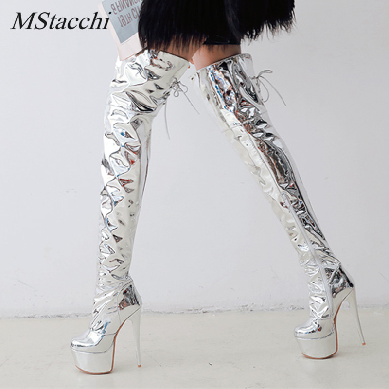 Mstacchi Winter Women Boots Warm Fashion Over the Knee Boots Sexy Thin High Heel Boots Platform Woman Shoes Silver Size 33-48