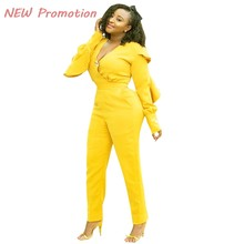 d831a6d2f59a Yellow Ruffles Rompers Women Overalls Elegant Long Sleeve V-neck Pocket  Bodycon Long Pants Jumpsuits Fashion Club Combination