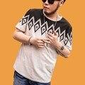 Plus Size camisa Dos Homens T de Algodão Bege 2016 New arrivals O pescoço Verão Casual Manga Curta 6XL 7XL Tamanho Grande Mens Tees t16020