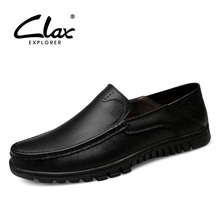 CLAX Mens Leather Dress Shoes Slip on Summer Autumn vintage Formal Footwear Male social shoe wedding Shoe chaussure homme