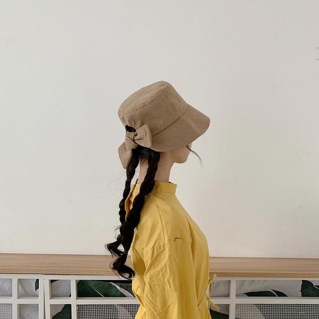 Hat Women Spring Summer Cute Soft Sister Fisherman Hat Slitted Bow Basin Cap Outdoor Japanese Sun Hat Men Bucket Hat Beanies