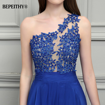 BEPEITHY Royal Blue Chiffon Long Prom Dresses 2019 One Shoulder Lace Vintage Evening Dress Vestidos De Festa 5