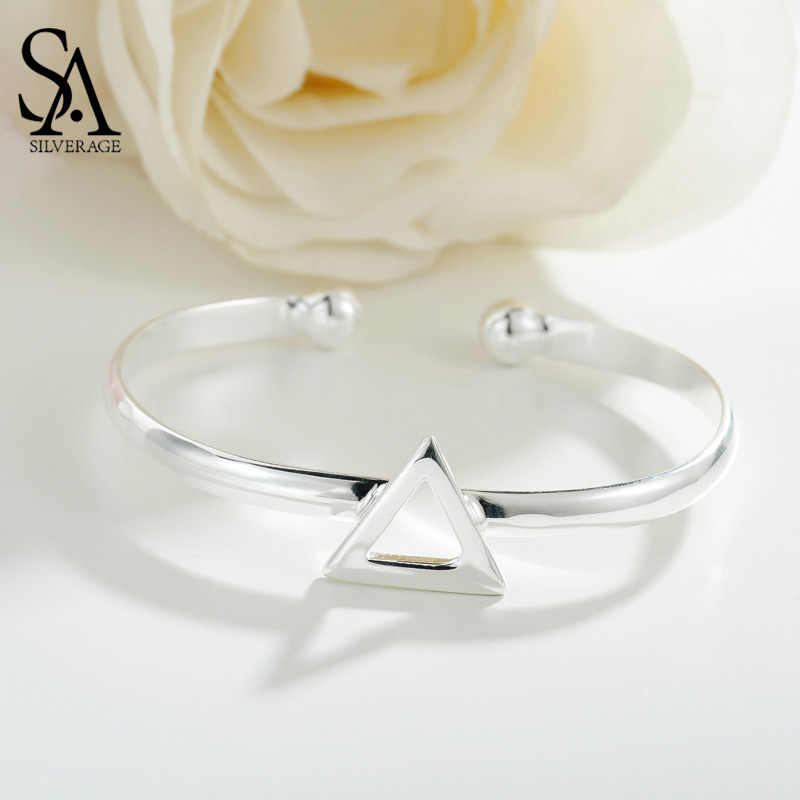 SA SILVERAGE 925 Sterling Silver Triangle Bracelets & Bangles for Women Cuff Bangle Bracelet Fine Jewelry