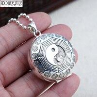 100% 925 Silver Taichi Bagua Box Pendant Necklace Sterling Fengshui Yinyang Symbol Box Pendant Necklace Good Luck Pendant