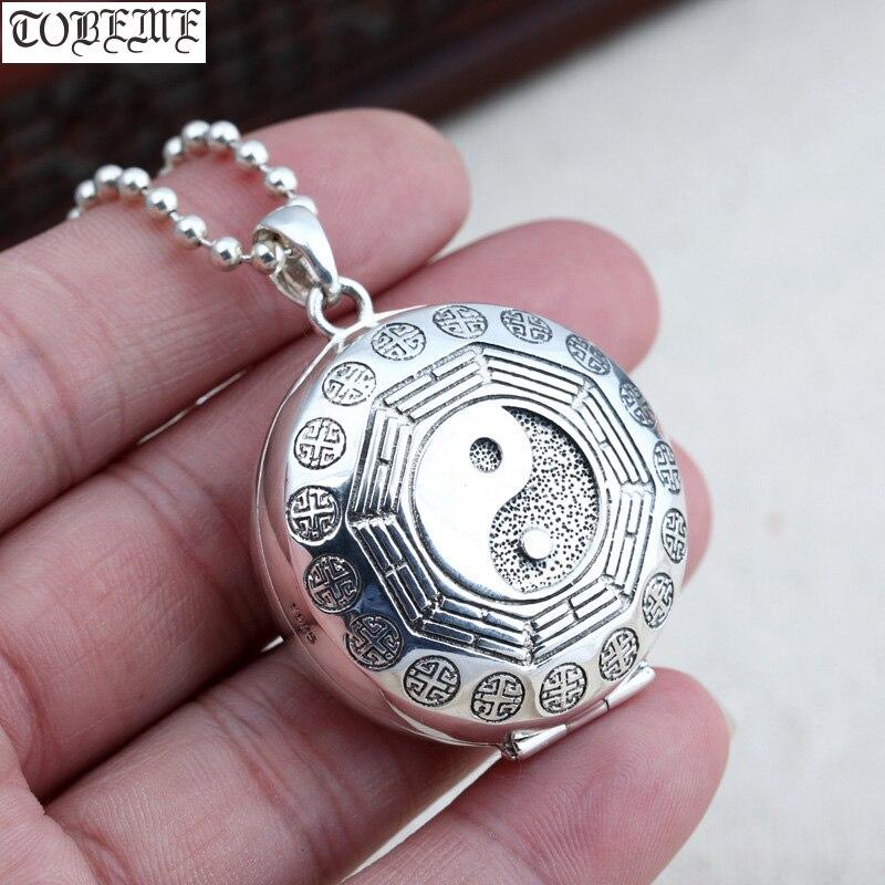 100% 925 argent Taichi Bagua boîte pendentif collier Sterling Fengshui Yinyang symbole boîte pendentif collier bonne chance pendentif
