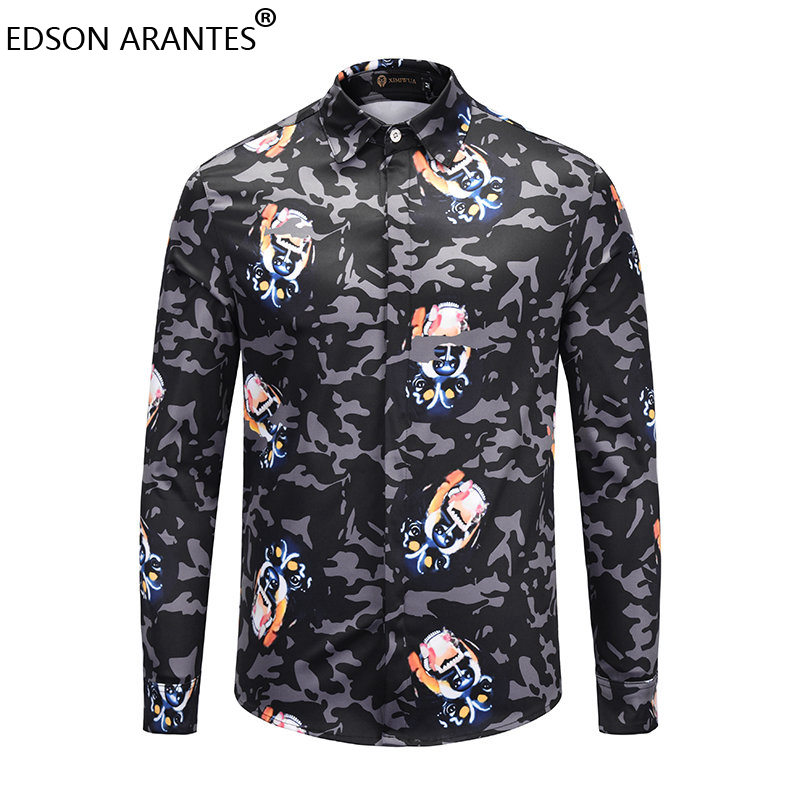 3fc747ec9c53 EDSON ARANTES New Male Shirt Fashion Mens Long Sleeve Camouflage Shirts  Unisex Street Hip Hop Casual Slim Fit Fancy Gray Shirts-in Casual Shirts  from Men s ...