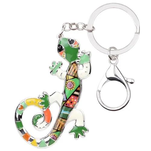 Bonsny Enamel Alloy Lizard Gecko Key Chain Key Ring Handbag Bag Charm Keychain Accessories New Fashion Animal Jewelry For Women