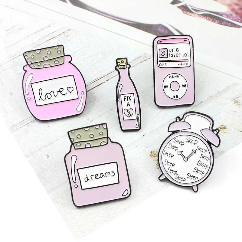 귀여운 핑크 수면 알람 시계 꿈 사랑 병 브로치 만화 수정 매직 물약 mp3 음악 에나멜 핀 데님 셔츠 배지 소녀 선물