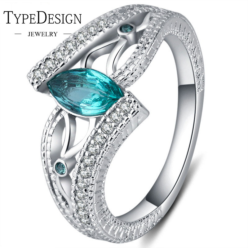 3 Colors Ladies 925 Sterling Silver Finger Ring Aquamarine stone engagement ring For women Stones Blue/Red/Green zircon jewelry