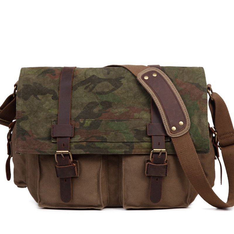 31f268862 S.C.COTTON Mens Casual Vintage Camouflage Canvas Leather Cotton Rucksack  Mountaineer School Shoulder Messenger Bag