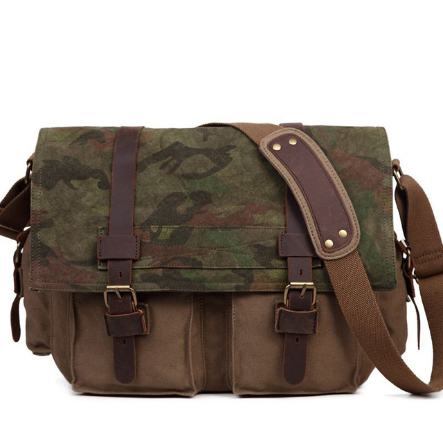 Men s Women s Casual Vintage Camouflage Canvas Leather Cotton Rucksack  Mountaineering Messenger Bag School Crossbody Shoulder Ba 008d621936943