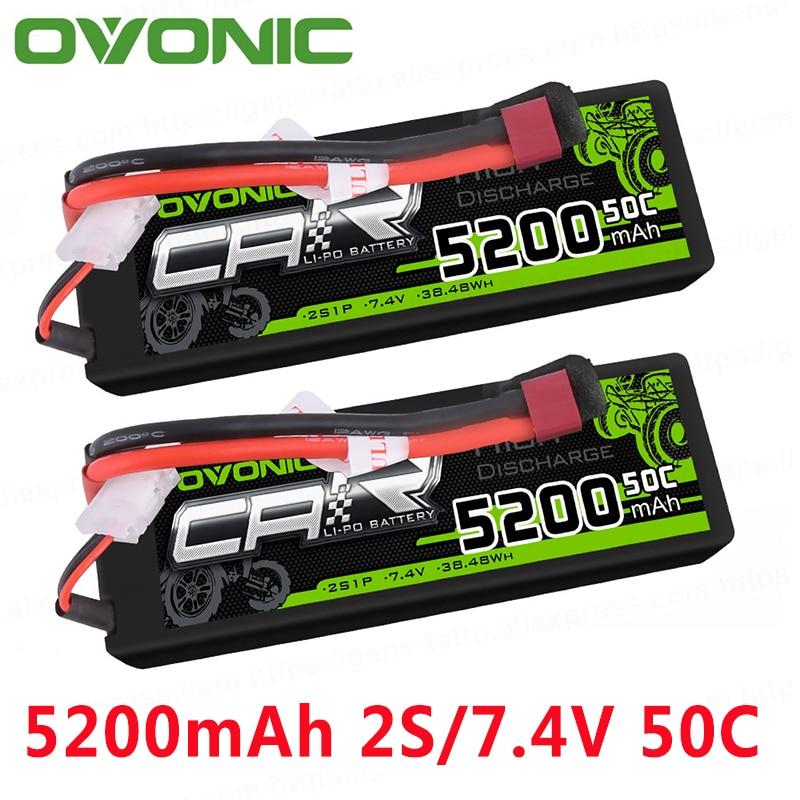 OVONIC 5200mAh  LiPo 2S 50C Batteries T Deans Plug 7.4V for ARRMA 1/8 1/10 RC Cars Emaxx Traxxas Slash HPI