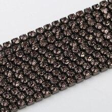SS6,8,10,12 10 All Size Black Diamond rhinestone cup chain silver setting bridal dress belt banding,cake bag decorative cupchain