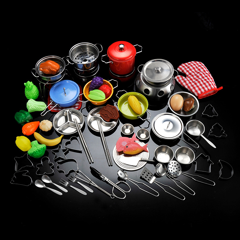 лучшая цена Children's educational play girls kitchen stainless steel cooking kitchenware mini Japanese food and play toy set