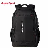 2017 Aspensport Fashion Men Backpack 14 17 Laptop Pack Large Capacity Business Backpacks School Rucksack Black