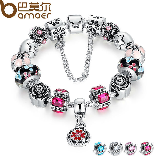 BAMOER Silver Original Glass Bead Strand Bracelet for Women With Safety Chain &