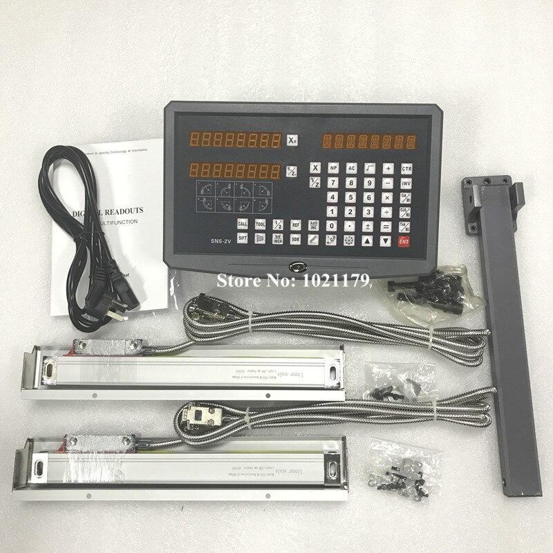 Livraison gratuite instruments de haute précision tour & mill 2 axes DRO lecture numérique avec 2 pcs linéaire verre échelles