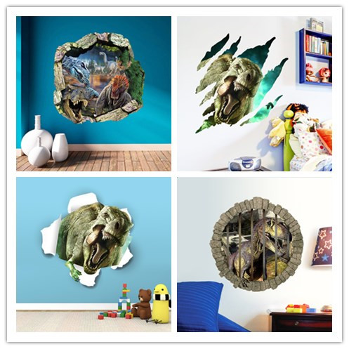 D Dinosaurs Wall Stickers Jurassic Age Home Decoration Diy - 3d dinosaur wall decalsd cartoon dinosaur wall stickers art decal mural home room