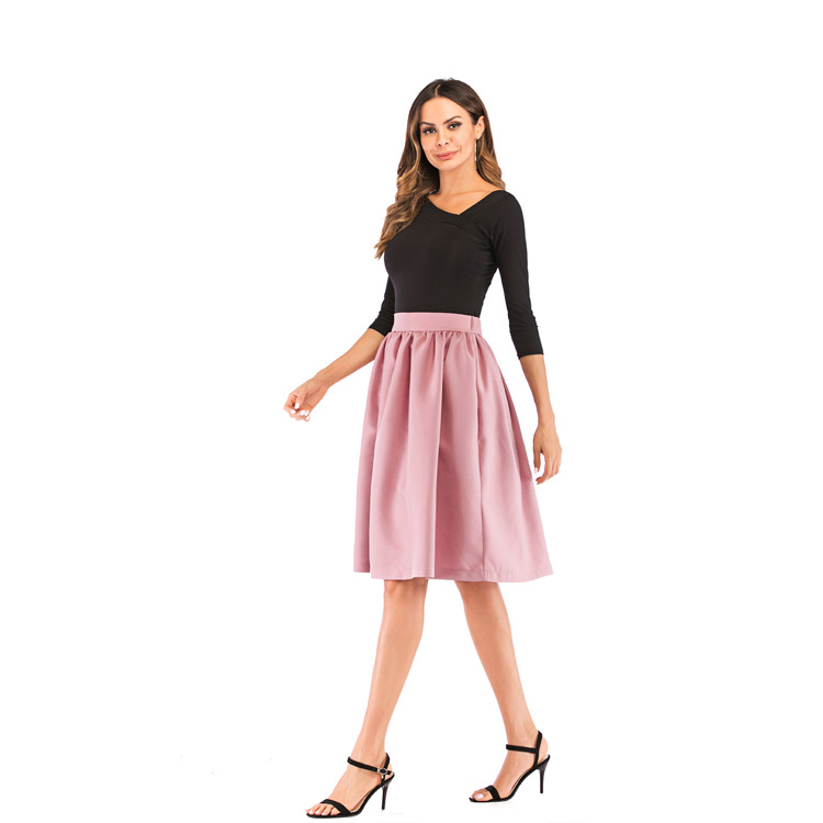 Bachash 19 New Skirt Pockets Fashion Spring Autumn Ball Gown Skirt High Waist Female Casual Solid Loose Knee-Length Skirts 15