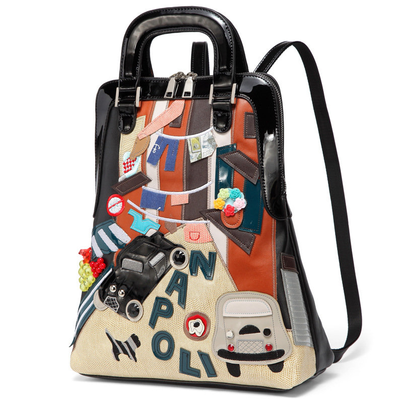 Splicing Colorful Backpack Car Pattern Summer Bag Campus Style Schoolbag Cute Backpack Fashion Leisure Creative Gift 2019 Black