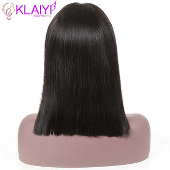 Klaiyi Hair Straight Bob Human Hair Wigs 8-14 inch Pre Plucked Brazilian Remy Hair 13*4/13*6 inch Lace Front Wig 150% Density