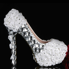 White flowers with silver crystals rhinestones high heels bridal wedding shoes Graduation Ceremony Prom Shoes