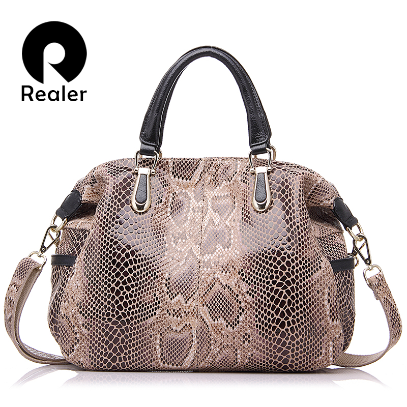 REALER brand women genuine leather tote bag female fashion serpentine prints leather handbags boston bag large