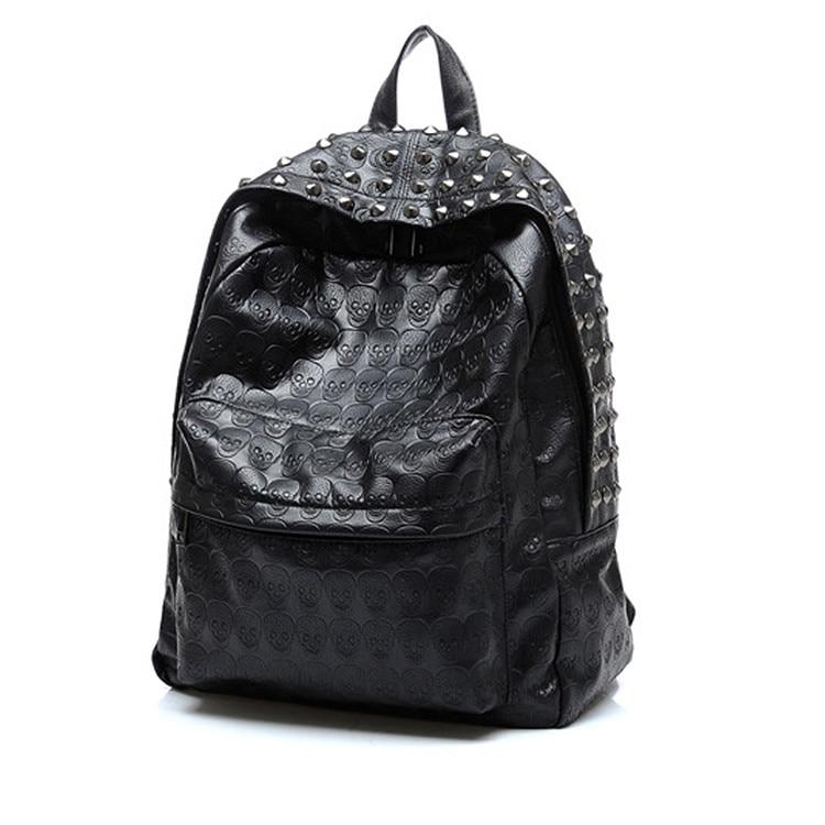 Nouveau noir crânes Rrivets sac à dos épaules sac hommes mode cuir sacs de voyage femmes sacoche décontractée sac à dos SHOUL-01 gaufrage