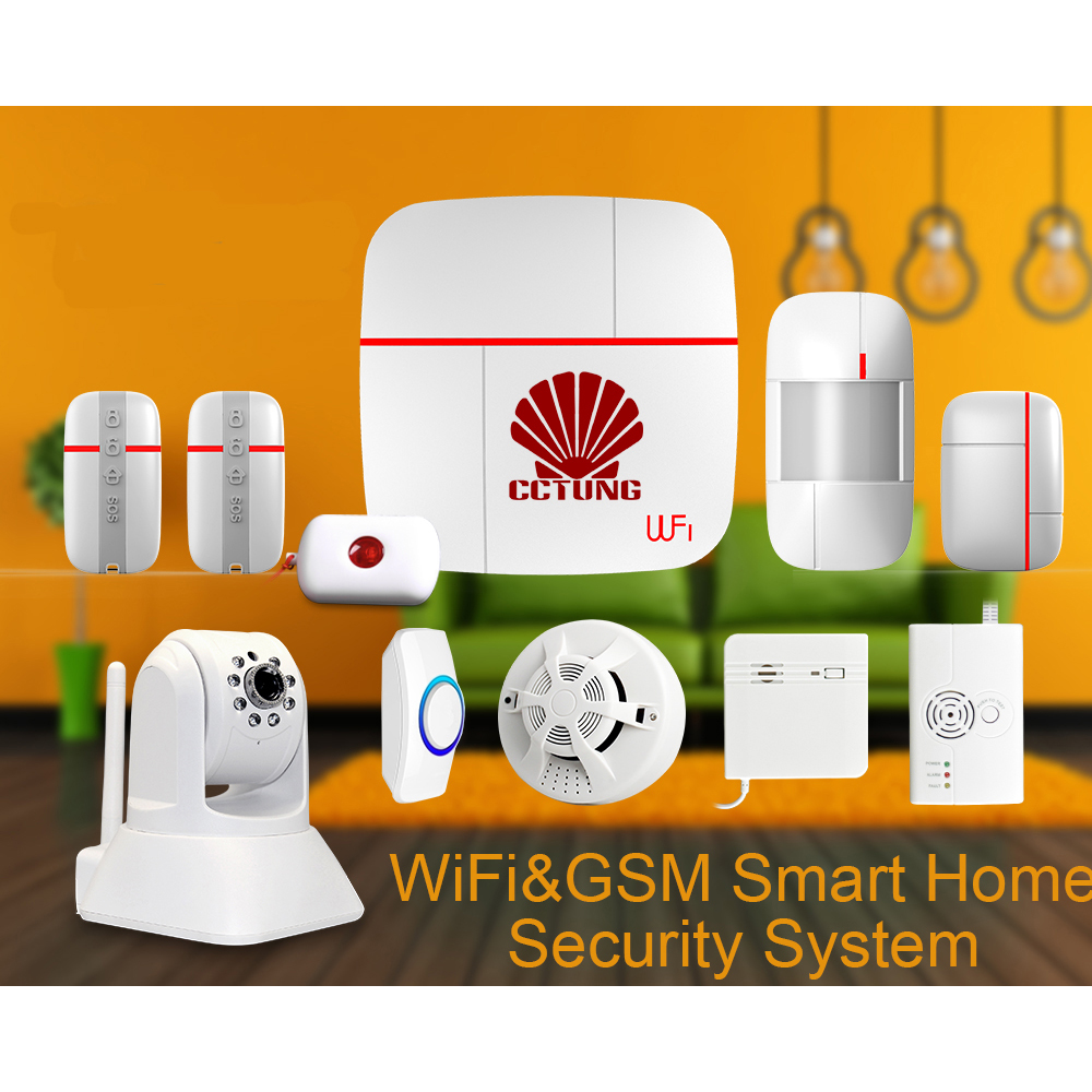 Vcare WIFI & GSM Smart Home Alarm Security System with Wireless Door & Gas & Water Sensor & SOS Button & HD PTZ IP Camera Ver C wireless alarm accessories glass vibration door pir siren smoke gas water sensor for home security wifi gsm sms alarm system