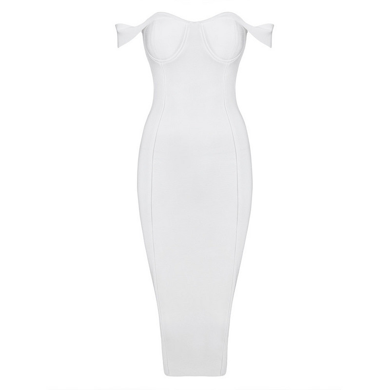 Free Shipping 2017 Womens Fall Fashion Elegant Off the Shoulder Rayon White Bandage Dress Knee Length
