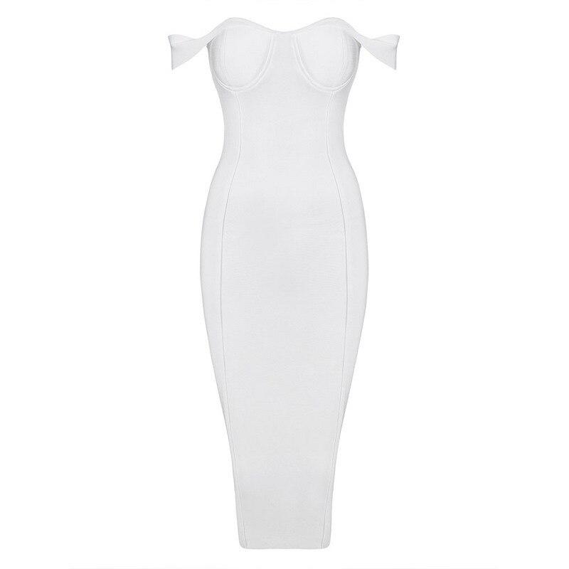 送料無料 2017 レディース秋のファッションエレガントなオフショルダーレーヨン白包帯ドレス膝丈 HL  グループ上の レディース衣服 からの ドレス の中 1