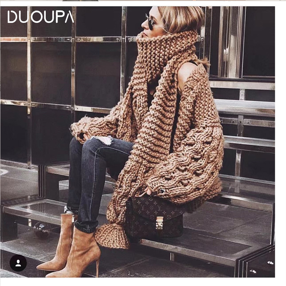 DUOUPA 2pcs Coarse Knitted Sweater Women 2019 AUTUMNWinter Fashion Lantern Sleeve Cardigan Female Open Front Korea Sweater Coat