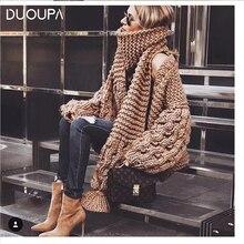 DUOUPA 2pcs Coarse Knitted Sweater Women 2019 AUTUMNWinter Fashion Lantern Sleev