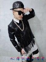 Новый! Модный мужской сценический для певца gd черный кожаный пуловер с кисточками Толстовка костюмы одежда пальто/s xl