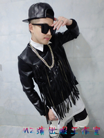 NEW !! Fashion men's stage singer gd black tassel leather pullover sweatshirt costumes clothing coat / S XL