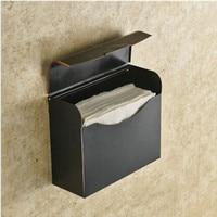 Black Bronze Brass Toilet Roll Paper Holder & Storer Waterproof Wall Mounted