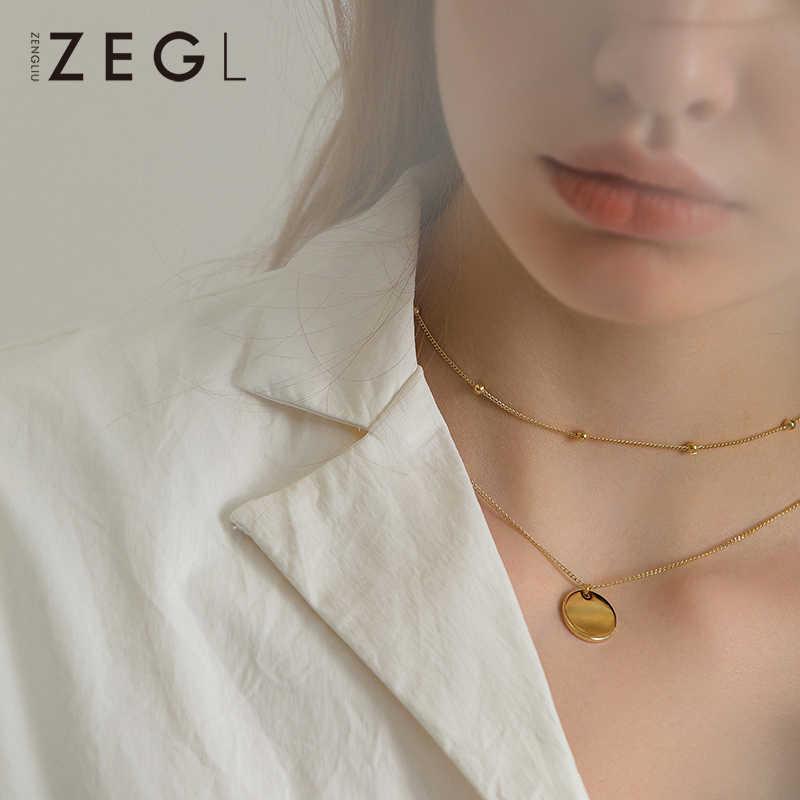 ZEGL lớp Vòng Cổ Vòng cổ nữ xương đòn dây chuyền tròn đơn giản Đồng tiền mặt dây vòng cổ dây chuyền cổ trang sức