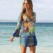 Women Dress Sexy Chiffon V-neck Long Sleeve Printed Beach Bohemin Style Summer Tourism Vacation