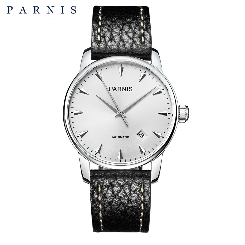 38mm Parnis Men's Mechanical Watches Sapphire Auto-Date Leather Mens Automatic Watch Dress Style Men Wristwatch relogio image