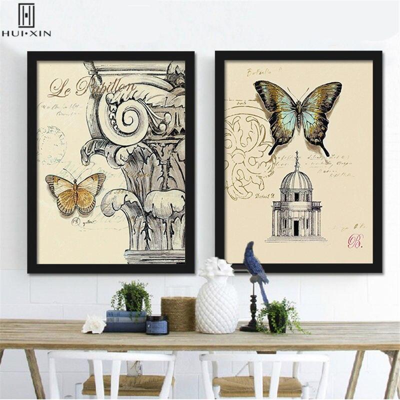 Mordern холст картины включает в себя Бабочка Стрекоза насекомые зеленый лист трава цветы оболочки картины фруктов для украшения дома