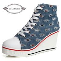 DE LA CHANCE 2018 Spring Women Vulcanize Shoes Wedge Sneakers For Women Tenis Feminino Casual Platform Sneaker Canvas Shoes