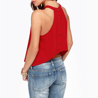 New Arrival 2015 Spring Summer Back Top Fly Rivets Sleeveless High End Chiffon Vest Blouse Blusas