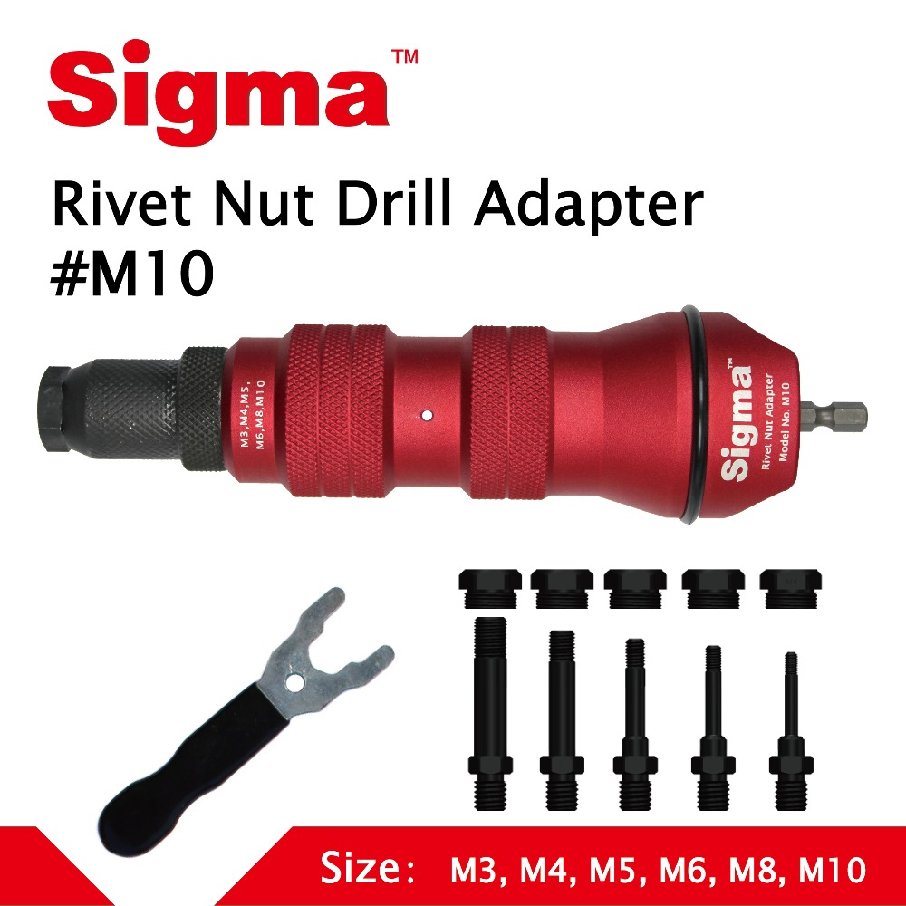 Sigma #M10 HEAVY DUTY Threaded Rivet Nut Drill Adapter Cordless or Electric power tool accessory alternative air rivet nut gunRiveter Guns   -