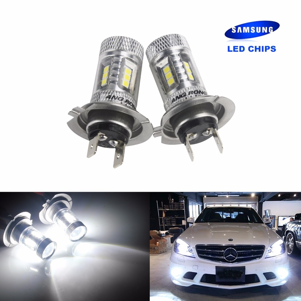 ANGRONG 2x H7 SAMSUNG High Power 15W LED HeadLight Bulb FogLight White(CA205x2)
