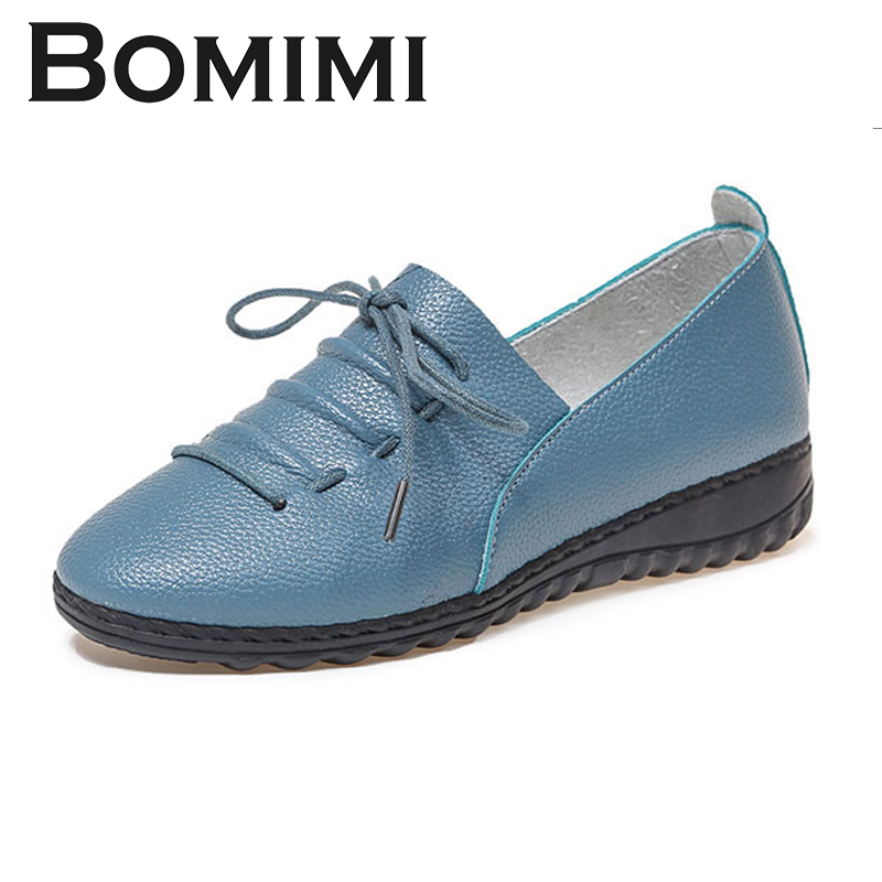 BOMIMI Women Flat Spring Autumn Shoes Woman Genuine Leather Women Flats Female Moccasins Shoe Women's Loafers keaiqianjin woman genuine leather shoes spring autumn black brown loafers shoes lazy plus size flats genuine leather loafers