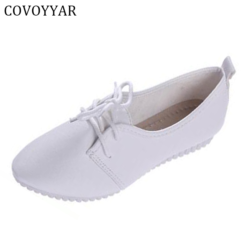 COVOYYAR Ballet Flats Ladies Pointed Toe White Shoes Woman Flat Heel Lace Up Shoes Slip On WFS25 2017 womens spring shoes casual flock pointed toe narrow band string bead ballet flats flat shoes cover heel women flats shoes