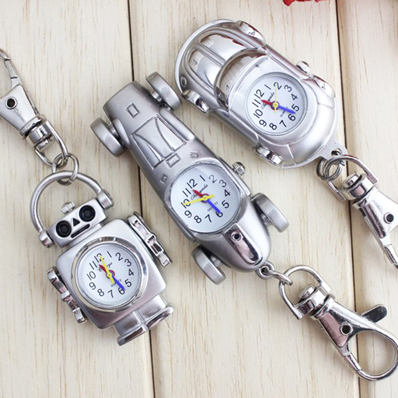 Pocket & Fob Watches Chaoyada New Fashion Vintage Silver Punk Steampunk Quartz Pocket Watch Cute Lovely Car Robot Key Chain Clock Nourishing The Kidneys Relieving Rheumatism