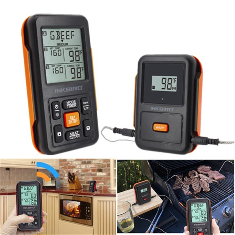 IRF-2S 300M Remote Wireless Digital Meat Food Thermometer Dual Probe BBQ Oven Thermometer Home Use Large Screen with Timer inkbird remote wireless home use rf thermometer irf 2s 1000 feet for cooking bbq grill oven smoker with three food grade probes