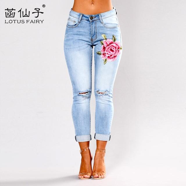 1c32cd803 Azul cintura baixa lápis Rasgado calça jeans bordados mulher Estiramento  Skinny freddy vindima calças jeans boyfriend
